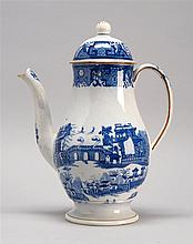 ENGLISH STAFFORDSHIRE COFFEEPOT Medium blue transfer decoration of Oriental landscapes. Retains original domed lid. Height 10.5