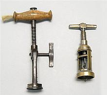 TWO CORKSCREWS English corkscrew with wood handle and brush, height 7.25