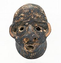 RARE CERAMIC DRAIN PIPE HEAD Probably South Carolina or Georgia origin. Top of head in the form of an African American's face. Well-..