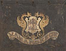RARE FIRE WAGON CANVAS PARADE PANEL In a modified trapezoid form. Surface painted with two winged griffins surrounding