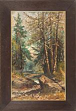 EDMUND DARCH LEWIS, American, 1835-1910, Forest pool., Oil on canvas, 24