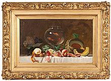 MILNE RAMSEY, American, 1847-1915, Still life of roses, fruit and a bowl of goldfish., Oil on canvas, 18