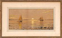 EDMUND DARCH LEWIS, American, 1835-1910, Sunset over the bay., Watercolor on paper, 9