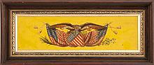 FRAMED PAINTED PLAQUE Beautifully painted spread-wing eagle with banner in beak