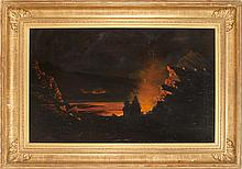 BROTHER FRANK HEROLD, American, d. 1929, The Eruption of Kilauea, The Island of Hawaii., Oil on canvas, 29