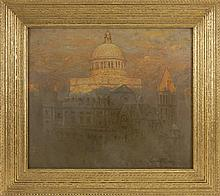 JOHN JOSEPH ENNEKING, American, 1841-1916, The First Church of Christ, Scientist in Boston., Oil on canvas board 16.25