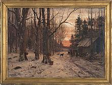 WILLIAM PRESTON PHELPS, American, 1848-1923, Sunset over the maple sugar shack., Oil on canvas, 30