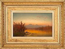 GEORGE HERBERT MCCORD, American, 1848-1909, Sunset in the mountains., Oil on canvas, 12