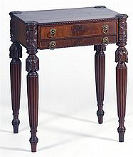 FEDERAL CARVED AND FIGURED MAHOGANY TWO-DRAWER WORK TABLE Possibly attributable to Samuel Field McIntire of Salem, Massachusetts, ci...