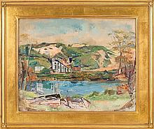 FLORENCE LEIF, American, 1913-1968, House by a mountain lake., Oil on canvas, 16