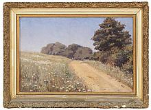 AMERICAN SCHOOL, Circa 1900, A path through a flower-lined meadow., Oil on canvas, 12