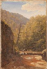 AMERICAN SCHOOL, Circa 1870, A mountain stream., Oil on canvas, 8
