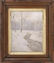 SCHOOL OF WALTER LAUNT PALMER, American, Early 20th Century, A meandering winter stream., Oil on board, 10