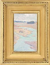 ARTHUR WESLEY DOW, American, 1857-1922, North Shore marshes., Oil on board, 8