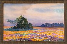 ARTHUR S. CUMMING, American, 1847-1913, A field of flowers., Watercolor on paper, 16.5