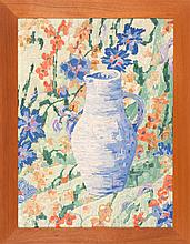 SCHOOL OF BIRGER SANDZEN, American, Mid-20th Century, Colorful still life of a ceramic vase and flowers., Oil on board, 24