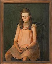 HENRY HENSCHE, American, 1899-1992, Portrait of a seated girl., Oil on canvas, 40