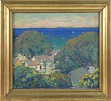 GEORGE GUSTAV ADOMEIT, American, 1879-1967, Rooftops over Provincetown Harbor., Oil on canvas, 16