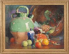ANNA S. FISHER, American, 1873-1942, Still life of pottery and fruit., Oil on canvas, 30