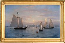 WILLIAM R. DAVIS, American, b. 1952, Sunset, Boston Harbor., Oil on canvas, 22