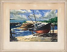 JOHN W. MCCOY, American, 1910-1989, Fishing boat in dry dock., Watercolor on paper, 13