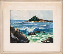 JOHN W. MCCOY, American, 1910-1989, Coastal scene, likely Maine., Watercolor on paper, 13
