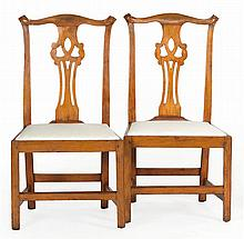 PAIR OF ANTIQUE AMERICAN COUNTRY CHIPPENDALE SIDE CHAIRS In maple with carved rabbit ears and pierced splat. Slip seat in later whit...