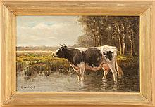 GEORGE ARTHUR HAYS, American, 1854-1945, A cow standing in a pool of water., Oil on canvas, 9