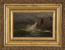 EDWARD HILL, American, 1843-1923, Waves crashing on a rocky coast., Oil on canvas, 6