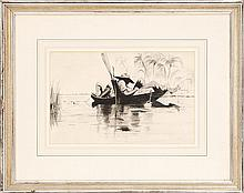 AMERICAN SCHOOL, Late 19th/Early 20th Century, Toe fishing., Watercolor on paper, 9