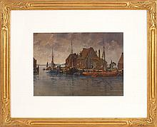 HEZEKIAH ANTHONY DYER, American, 1872-1943, Ships at dock, likely Rhode Island., Watercolor on paper, 11.25