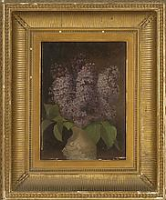AMERICAN SCHOOL, Mid-19th Century, Lilacs in a vase., Oil on artist board, 12