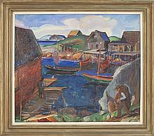 MONHEGAN SCHOOL, American, 20th Century, View of a Maine harbor., Oil on canvas, 25