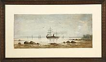 D.A. FISHER, American, 1867-1940, A steam/sail vessel off a pier., Watercolor on paper, 10.25