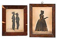 PAIR OF FRAMED SILHOUETTES One depicts a woman. The other depicts two schoolboys and is signed and dated lower left