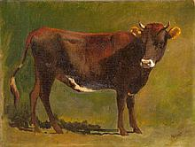 WILLIAM M. HART, American, 1823-1894, Portrait of a cow., Oil on canvas, 12