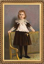JAMES WELLS CHAMPNEY, American, 1843-1903, Portrait of a child standing on a settee., Pastel on canvas, 48