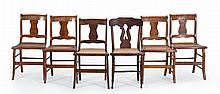 SET OF FOUR ANTIQUE AMERICAN SABER-LEG SIDE CHAIRS Together with a near-matching side chair in cherry. Set of four in nicely figured...