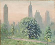 JOHANN BERTHELSEN, American, 1883-1972, Central Park, New York., Oil on canvas, 25