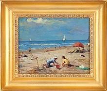 AMERICAN SCHOOL, 20th Century, Beach scene with figures., Oil on board, 8