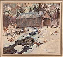 H. BOYLSTON DUMMER, American, 1878-1945, Covered bridge in winter., Oil on canvas, 34