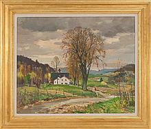 ANTONIO CIRINO, American, 1889-1983, New England farm., Oil on canvas, 25