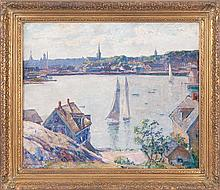 JOEL J. LEVITT, American, 1875-1937, North Shore harbor scene, likely Gloucester, Massachusetts., Oil on canvas, 20