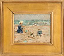 ARRAH LEE GAUL, American, 1883-1980, Figures on the shore., Oil on board, 8