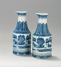 PAIR OF UNUSUAL BLUE AND WHITE CANTON PORCELAIN PITCHERS Height 10