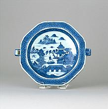 CHINESE EXPORT BLUE AND WHITE CANTON PORCELAIN HOT WATER DISH Length 10.5