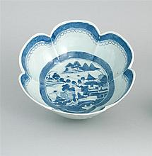 CHINESE EXPORT CANTON PORCELAIN SIX-LOBED SERVING BOWL With blue and white decoration. Diameter 10.5