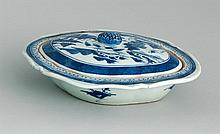 CHINESE EXPORT CANTON PORCELAIN COVERED VEGETABLE DISH In oval form. Length 9