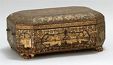 CHINOISERIE LACQUER LIFT-TOP SEWING BOX With compartmented interior, a single drawer and paw feet. Includes numerous bone sewing imp...