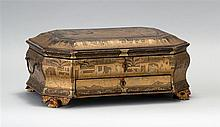 BLACK AND GOLD LACQUERED WOOD SEWING BOX In modified rectangular form with decoration of Chinese figures in various stages of silk p...